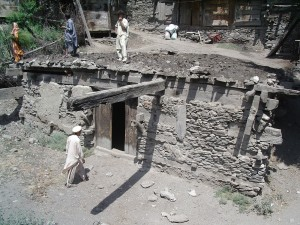 A Jestkhan (Kalash Temple) similar to this has been filled with mud in Rumbur.