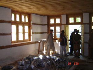 Photo of classroom one during building.